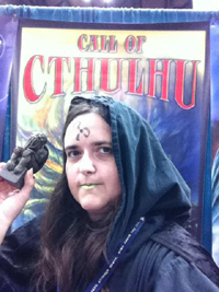 The infamous cultist spreading the word of Cthulhu across the Trade Hall!
